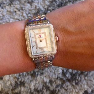MICHELE DECO II TWOTONE ROSE GOLD DIAMOND WATCH